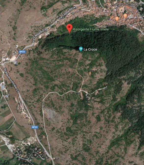 Itinerario per arrivare alla croce e alla risorgente Imele a Tagliacozzo